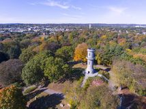 Mount Auburn Cemetery, Watertown, Massachusetts, USA. Washington Tower in Mount Auburn Cemetery in fall, Watertown, Greater Boston Area, Massachusetts, USA stock photography