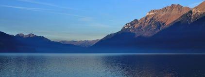 Mount Augstmatthorn at sunrise. Lake Brienzersee, Switzerland. Sunrise view from Brienz, Switzerland. Mount Augstmatthorn and lake Brienzersee Stock Photo