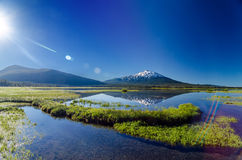 Mount Bachelor Lens Flare Royalty Free Stock Images