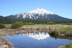 Mount Bachelor from Sparks Lake royalty free stock image