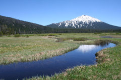 Mount Bachelor from Sparks Lake Flood Plain stock photography