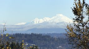 Mount Baker. View from bedroom window looking north to mount Baker with snow Stock Photo