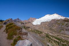 Mount Baker And Easton Glacier From Railroad Grade Trail Royalty Free Stock Images