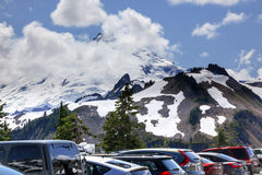Mount Baker from Artist Point Parking Lot with Cars Washington Stock Image