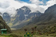 Mount Baker in the Rwenzori Mountains National Park, Kasese District, Uganda. Mount Baker partly covered by clouds seen from Bujuku Hut, Rwenzori Mountains stock images