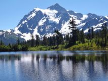 MOUNT BAKER REFLECTION IN PICTURE LAKE, WA Stock Image