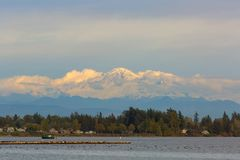 Mount Baker from Semiahmoo Bay in Washington state USA stock images