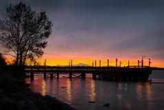 Mount Baker Sunrise, Fraser River Royalty Free Stock Image