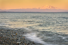 Mount Baker Sunset. Boundary Bay, Point Roberts, Washington State at sunset. Mount Baker rises in the background royalty free stock photography