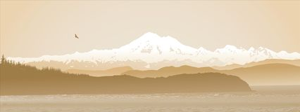 Mount Baker, Washington State panoramic in sepia. Mount Baker, Washington State, panoramic in sepia. Looking over the straight from Vancouver Island Stock Image