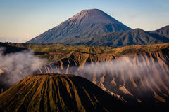 Mount Batok with Mount Semeru in East Java Stock Photography