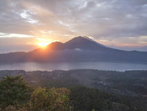 Mount Batur in Indonesia. Scenery around a volcano named Mount Batur in Bali, Indonesia Royalty Free Stock Image