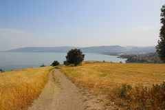 Mount of Beatitudes Church of The Beatitudes with view on Sea of Galilee, Israel stock images