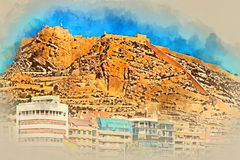 Mount Benacantil with the Castle of Santa Barbara. Alicante. Digital watercolor painting of a Mount Benacantil with the Castle of Santa Barbara (Castillo de Stock Photo