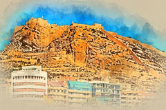 Mount Benacantil with the Castle of Santa Barbara. Alicante. Digital watercolor painting of a Mount Benacantil with a Castle of Santa Barbara (Castillo de Santa Royalty Free Stock Images