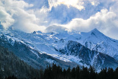 The Mount Blanc in Chamonix, France. Stock Images