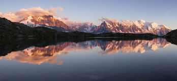 Mount Blanc. Mont Blanc reflected in Cheserys Lake, Mont Blanc Massif, France royalty free stock image