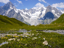 The Mount Blanc from Val Ferret, Alps Mountains, Italy Royalty Free Stock Photography