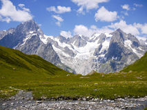 The Mount Blanc from Val Ferret, Alps Mountains, Italy Royalty Free Stock Photos