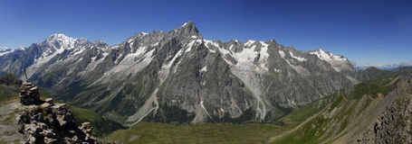 Mount Blanc and Val Ferret Panorama Stock Photography
