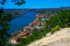 Mount Bonnell Austin Texas Overlook with Mansions Royalty Free Stock Image