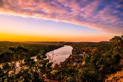 Mount Bonnell Belt Of Venus Sunset Austin Central Texas Stock Photos