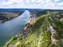 Mount Bonnell Summer Aerial View from Above Austin Texas Royalty Free Stock Photos