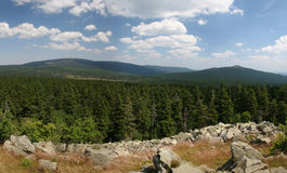 Mount Brocken (Harz) in Germany. Panorama picture of mount Brocken and mount Wurmberg in the national park Harz, Germany. Seen from the rocks of mount Achtermann royalty free stock photo