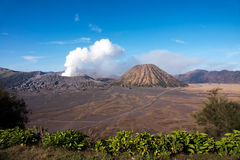 Mount Bromo, an active volcano with clear blue sky at the Tengger Semeru National Park. Mount Bromo, an active volcano with clear blue sky at the Tengger Semeru Stock Photos