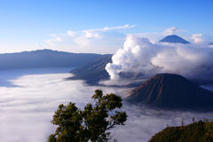 Mount Bromo, an active volcano in East Java, Indonesia. Mount Bromo, an active volcano and part of the Tengger Semeru National Park in East Java, Indonesia Royalty Free Stock Photography