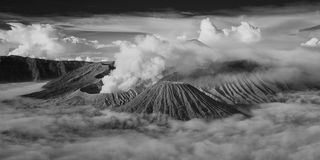 Mount Bromo, active volcano during sunrise. Royalty Free Stock Photography