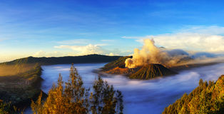 Mount Bromo, active volcano during sunrise. Panorama scene of Mount Bromo, active volcano during sunrise with  cloud, it's located in Bromo Tengger Semeru Royalty Free Stock Photo