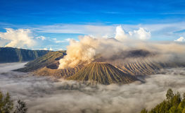 Mount Bromo, active volcano during sunrise. Royalty Free Stock Photo