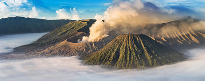 Mount Bromo, active volcano during sunrise. Stock Photography