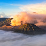 Mount Bromo, active volcano during sunrise. Stock Images