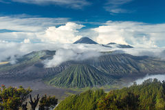 Mount Bromo and Batok volcanoes in Bromo Tengger Semeru Park Royalty Free Stock Image