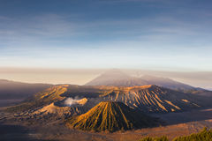Mount Bromo blue sky day time nature landscape background. Java, Indonesia Royalty Free Stock Images