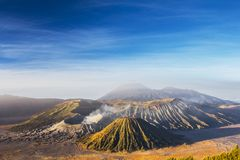 Mount Bromo blue sky day time nature landscape background. Mount Bromo blue sky day time nature landscape panorama background, Java, Indonesia Stock Photos