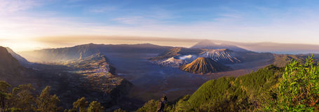 Mount Bromo blue sky day time nature landscape background Royalty Free Stock Images