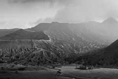 Mount Bromo Caldera. In Black and White Colors, showing the Hindu Temple Stock Photo