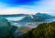 Mount Bromo with fog in the morning time Royalty Free Stock Photography