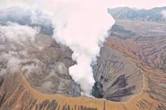 View of Mount Bromo crater. Mount Bromo has a crater with a diameter of ± 800 meters north-south and ± 600 meters east-west stock photography