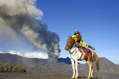 Mount Bromo. Horse Rider at Mount Bromo, East Java, Indonesia royalty free stock photos