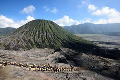 Mount Bromo, Indonesia. View of Mount Batok from Mt Bromo crater in East Java, Indonesia stock photo