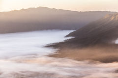Mount Bromo landscape at sunrise with clouds Royalty Free Stock Photos