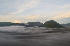 Mount Bromo and Mount Batok Stock Image