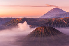 Mount Bromo, Mt Batok and Gunung Semeru in Java, Indonesia. Royalty Free Stock Photos