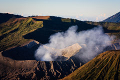 Mount Bromo with Sulfuric Smoke Stock Photography