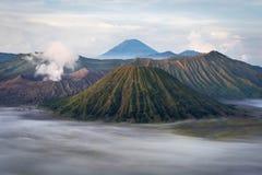 Mount Bromo at Sunrise, Java, Indonesia. Mount Bromo, Batok and Gunung Semeru at sunrise in Java, Indonesia Royalty Free Stock Photo