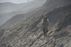 Mount Bromo Surabaya Indonesia-August 1, 2015:Tourist trekking stock image